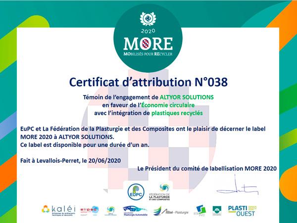 more certificat